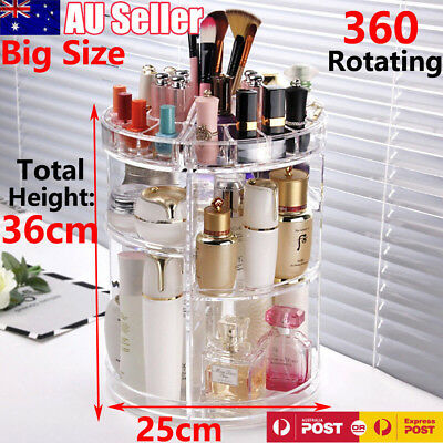 360° Rotating Acrylic Makeup Organiser Storage Cosmetics Holder Rack Stand Case