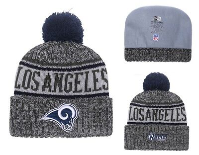 cb0e0f72aaa 2018 LOS ANGELES Rams New Era NFL Knit Hat On Field Sideline Beanie ...