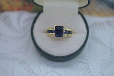 Art Deco Vintage Jewellery Gold Ring Blue White Sapphire Antique Jewelry Size 10
