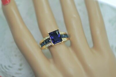 Art Deco Vintage Jewellery Gold Ring Blue White Sapphire Antique Jewelry Size T
