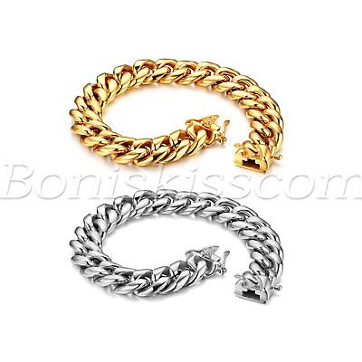 Men's Wide Heavy Charm High Polished Stainless Steel Buckle Curb Chain Bracelet
