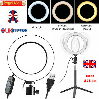 "8"" LED Ring Light Studio Youtub Dimmable Lamp Tripod Stand Selfie Camera Phone"