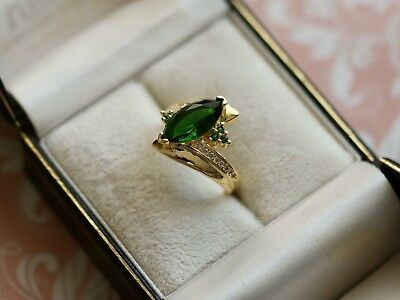 Antique Art Deco Vintage Gold Ring Emerald Sapphire White stones size 7 or N