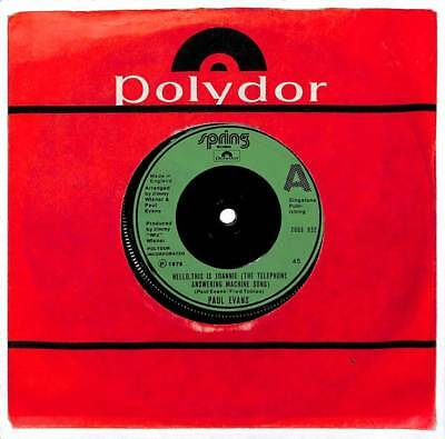 Paul Evans - Hello, This Is Joannie (The Telephone Answering Machine Song) - 7""