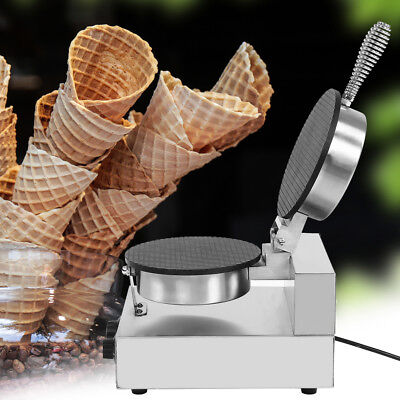 Electric Stainless Ice Cream Egg Waffle Cone Maker Machine Non Stick Pan 110V oe