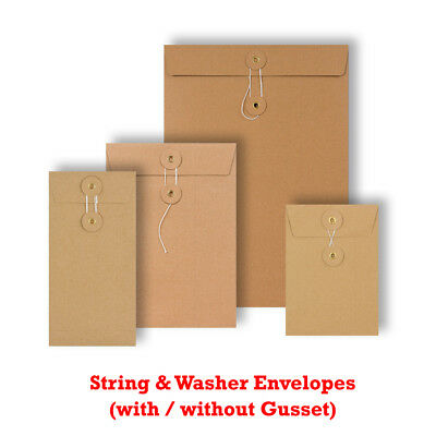 Quality String & Washer Strong Bottom Tie Envelopes Manilla All Sizes Brown