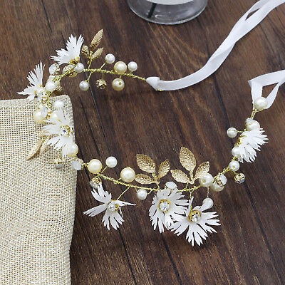 Simple Boho Flower Headband Garland Hair Wreath Crown Festival Bride Ribbon