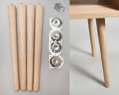 4 x Wooden Tapered Legs in Solid Oak - Furniture Table Stool Retro Mid Century