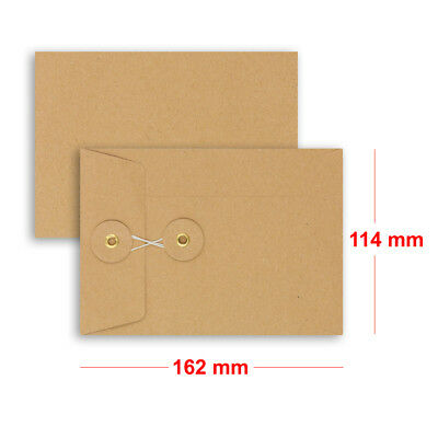 Brown String & Washer C6 - 162x114 mm Bottom&Tie W/O Gusset Envelopes Manilla