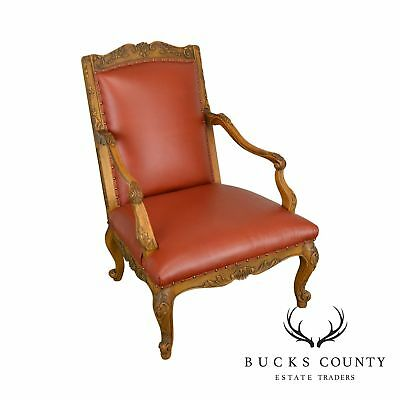 Baker Vintage French Louis XV Style Large Leather Fauteuil Arm Chair