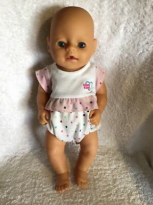 ZAPF Creations Drinking & Wetting Baby Born Doll Blue Eyes 36cm Tall VGC