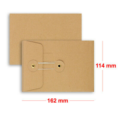 Brown String & Washer C6 - 162x114 mm Bottom&Tie With Gusset Envelopes Manilla