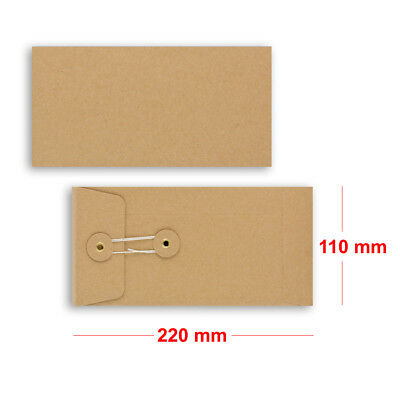 Brown String & Washer DL - 220x110 mm Bottom&Tie With Gusset Envelopes Manilla