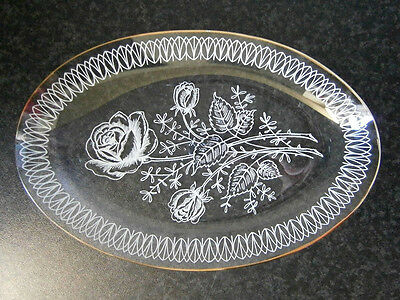 BEAUTIFUL VINTAGE GLASS PIN DISH / TRINKET TRAY with WHITE ROSE