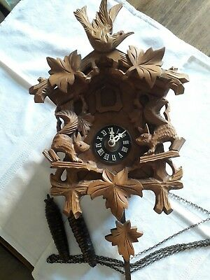 Vintage Cuckoo Clock / Aug Schwer / German / Black Forest Style / Wooden
