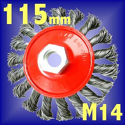 Silverline 115mm Rotary Twist Knot Wire Brush wheel M14 fits angle grinder cup