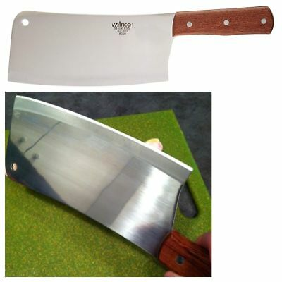 """Kitchen Cleaver Meat Cutting Chopping Butcher Knife Chef Home Wood Handle 8"""" NEW"""