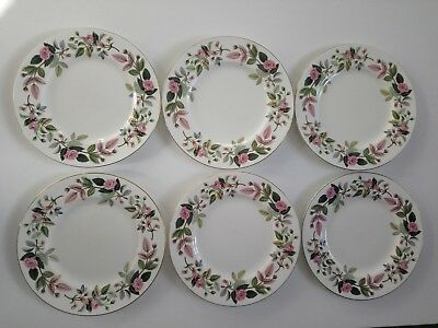 "Six 6 x Wedgwood HATHAWAY ROSE Dinner Plates large 10.75"" pink set vintage"
