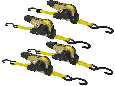 4x Tension Belt Automatic 3,5m 0 31/32in 320dan LASHING STRAP Roll-Up Function