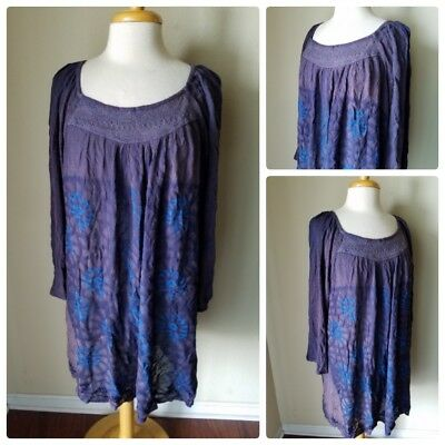 f450f73c05a3d Shoreline Women s Tunic NWT Dress Top Peasant Beach Swim Cover Up Blue Boho  3X