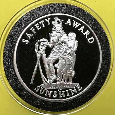 Sunshine Mining Safety Award Round Coin 1 Troy Oz .999 Pure Fine Silver Medal