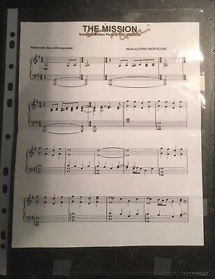 "ENNIO MORRICONE Hand Signed Music Sheet ""The Mission"" Autograph"