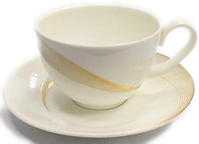 Wedgwood Tranquillity Tea Cup & Saucer Fine Bone China White with Gold Lines