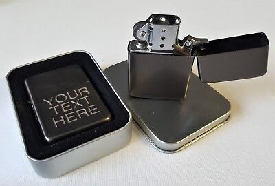 Engraved GUNMETAL Personalised Star Petrol Lighter Birthday Wedding him Gift