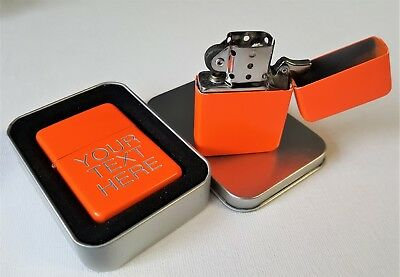 Engraved ORANGE Personalised Star Petrol Lighter Birthday Wedding Valentine gift