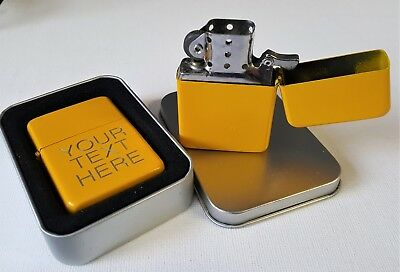 Engraved YELLOW Personalised Star Petrol Lighter Birthday Valentine Present gift