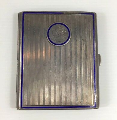 Antique Solid Silver & Enamel Cigarette Case Marked 'SM' 112g