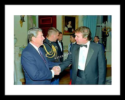 DONALD TRUMP WITH RONALD REAGAN IMAGE IN BACKGROUND  8X10 or 11X14 PHOTO AZ890
