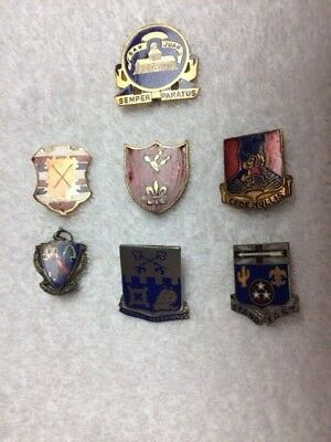 WWII 7pc Infantry & Artillery DUI  Unit Crest DI Group Army Uniform Insignia Pin