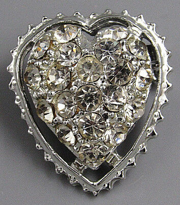 Vintage Jewelry Faceted Crystal Mini Heart BROOCH PIN Rhinestone Lot G