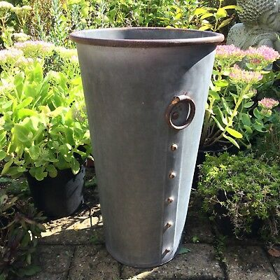 Extra Tall Large Metal Garden Planter Flower Pot Tub Round Vintage Style Rustic