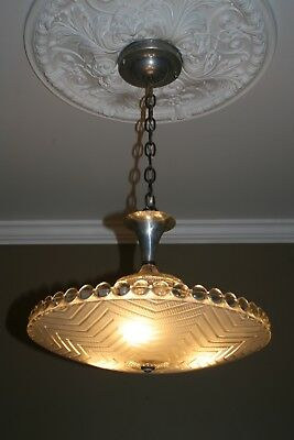 Antique frosted glass Art Deco 16 inch shade flush mount ceiling fixture 1940s