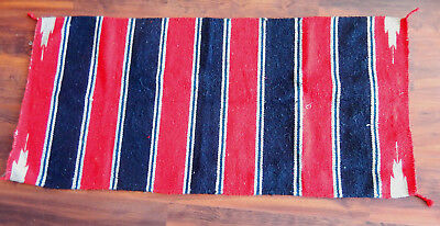Native American Rug  Red Black Stripe