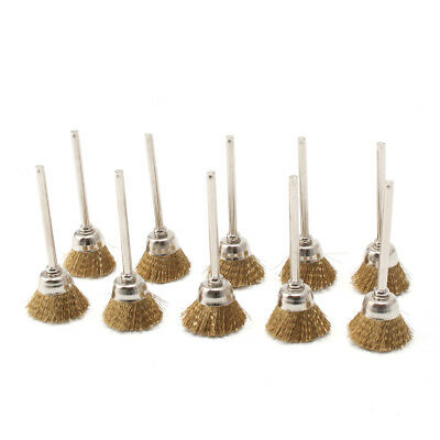 10Pcs 25mm Brass Wire Cup Brush Set Kit For Metal Surface Rust Cleaning Buffing
