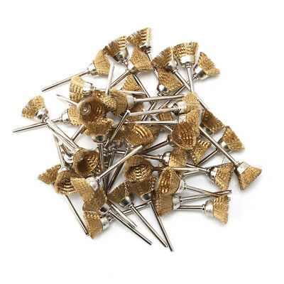 50Pcs 25mm Mini Brass Wire Cup Brush Kit Metal Surface Rust Cleaning Rotaty Tool
