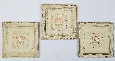 3 Vintage carved wood ceiling tile wall panel panel Shabby Cottage Romantic