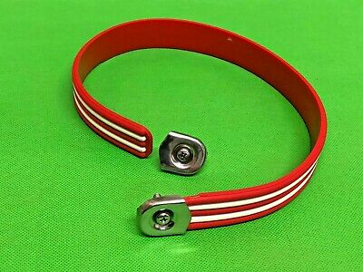 Vespa / Lambretta Red Seat Strap With White Stripes C/w 2 Stainless End Clamps