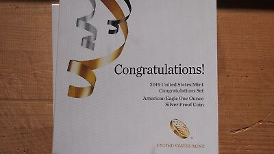 """2019 W """"CONGRATULATIONS SET"""" PROOF SILVER EAGLE - SOLD BY MINT 1st DAY FUN SHOW"""