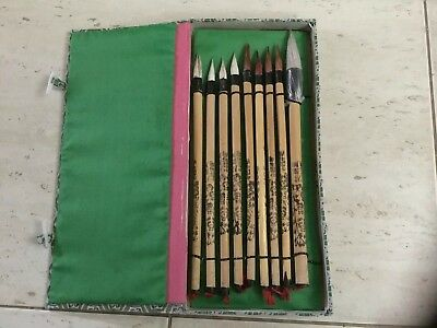 Vintage Artists Set Asian Chinese Japan Calligraphy Painting 9-Brushes