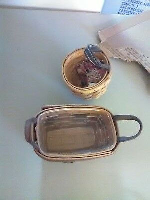 2 Small Longaberger Baskets - Round Key Basket 2002 - Leather Handles 1993