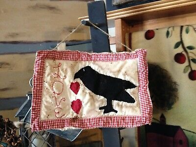 Primitive Valentines Day Mini Quilt Crow With Heart Ornies Love Decor