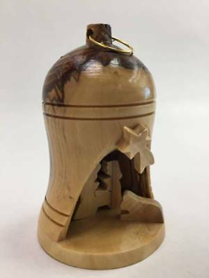 Olive Wood Small Bell W Nativity Set Art Made Good Home & Office Decor