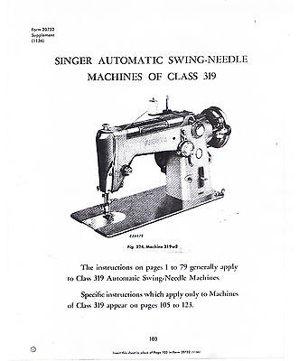 Singer Sewing Machine Class 319 Adjusters Service Repair Manual Book How To Time