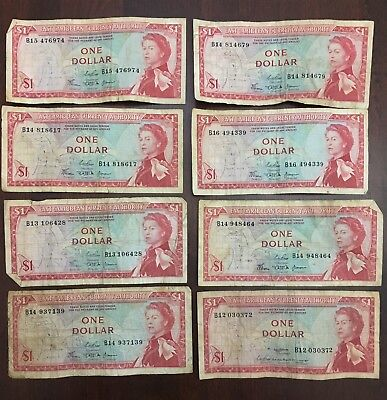 (8) East Caribbean Currency Authority $1 Dollar Queen Elizabeth Banknotes