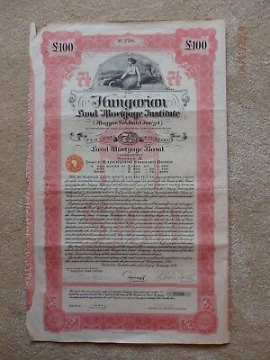 Hungarian £100 Share Certificate / Bond. Dated 1926.