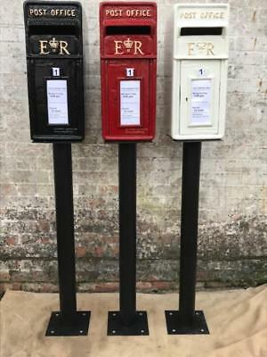 RoyalMail CastIron ER Post Box PowderCoated Red Black White WITH STAND Letterbox